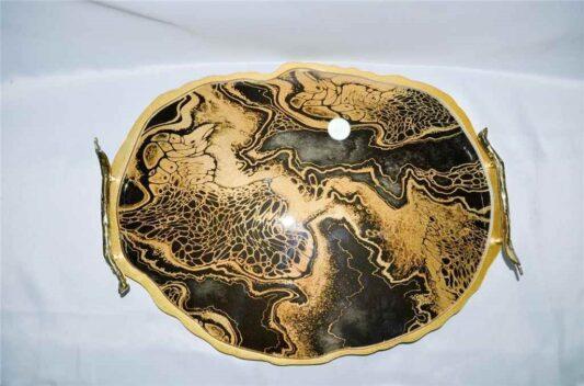 Tepsi Doğal Taş Görünümlü Ebruli Siyah Gold Renk Camlı