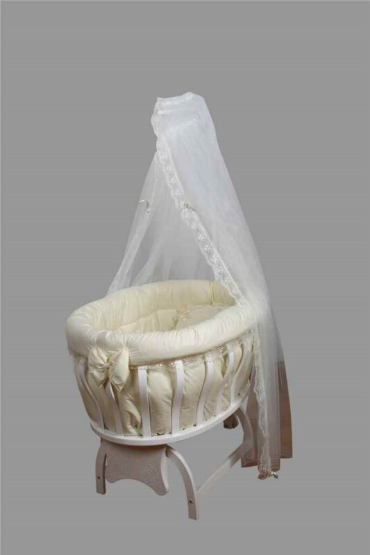 Uğur Böceği Beşik Fiyonklu Krem Beyaz Fransız Güpür Kayın